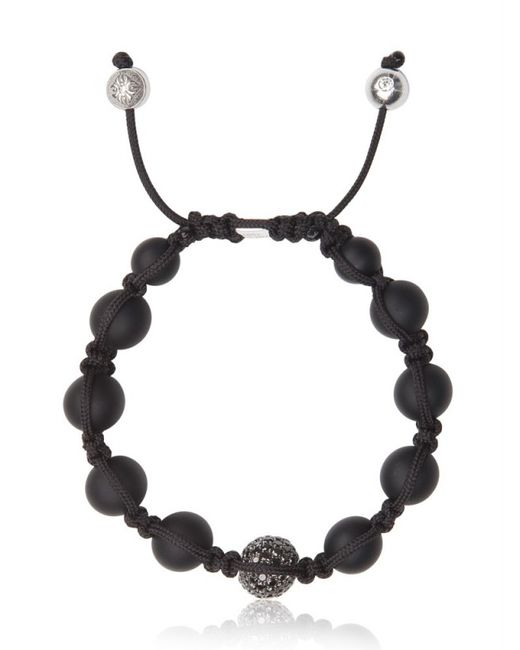 Shamballa Jewels Black Onyx Black Diamond Bead Bracelet In