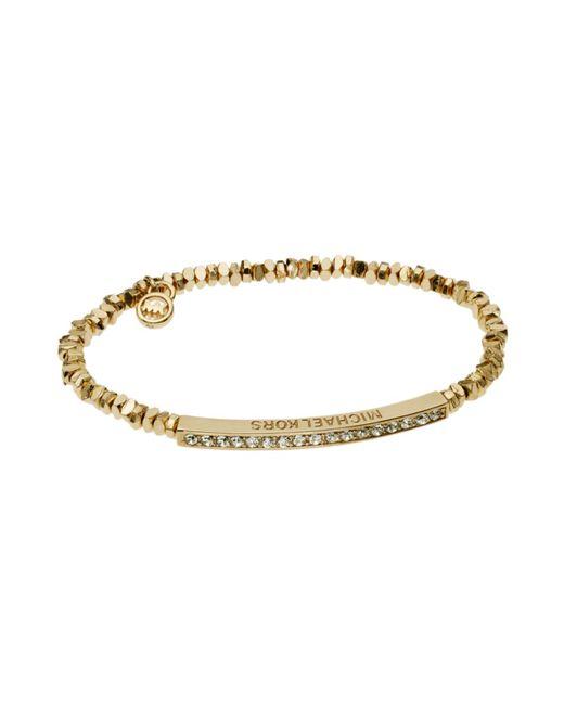 Michael Kors | Metallic Golden Stretch Bracelet with Pave Bar Detail | Lyst