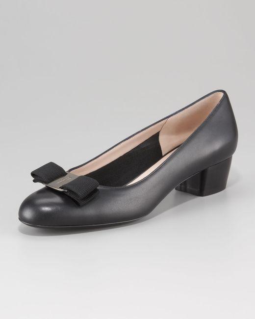 Ferragamo | Black Mink Patent Leather Vara Low Heel Pumps | Lyst