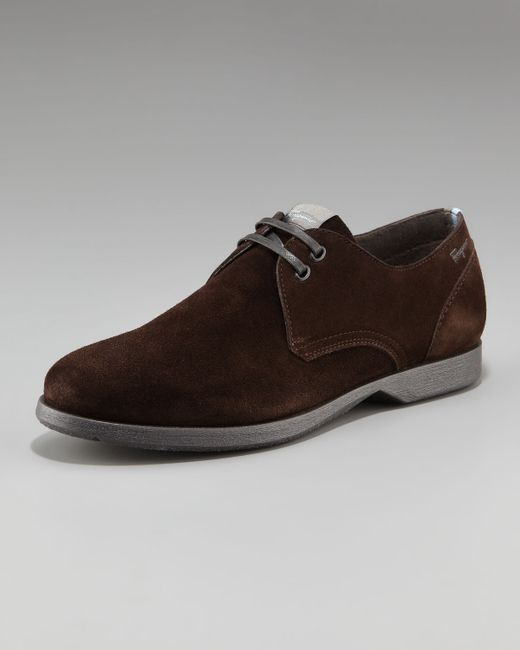 Ferragamo | Brown Motion Suede Derby Shoe for Men | Lyst