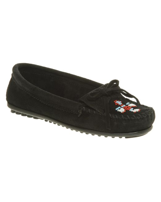 Minnetonka | Black Me To We Beaded Suede Moccasins | Lyst