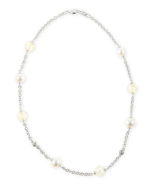 Judith Ripka | Metallic Pearl Crystal Chain Necklace | Lyst