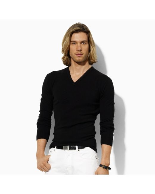 Polo Ralph Lauren | Black Cashmere V-neck Sweater for Men | Lyst