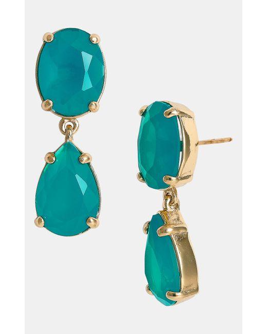 kate spade new york | Metallic Gold-tone Blue Crystal Drop Earrings | Lyst