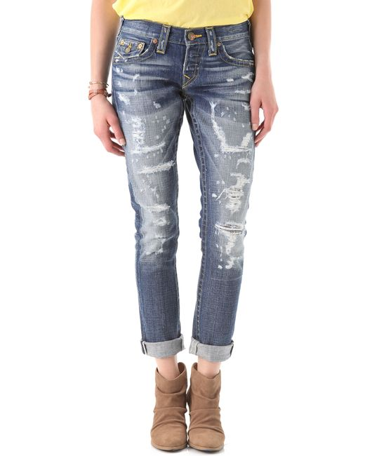 True Religion | Blue Distressed Skinny Jeans | Lyst