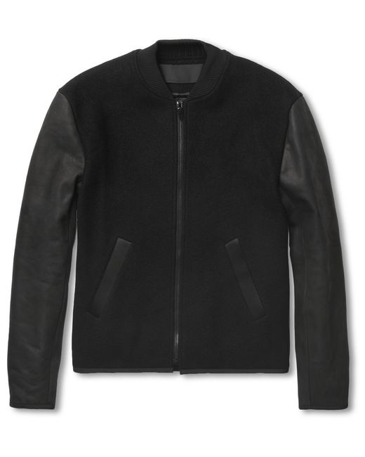 Alexander Wang | Black Wool Blend and Nubuck Bomber Jacket for Men | Lyst