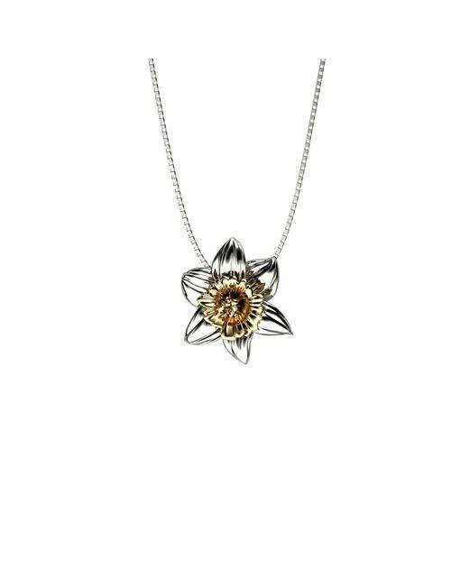 Azendi | Metallic Sterling Silver Daffodil Pendant | Lyst