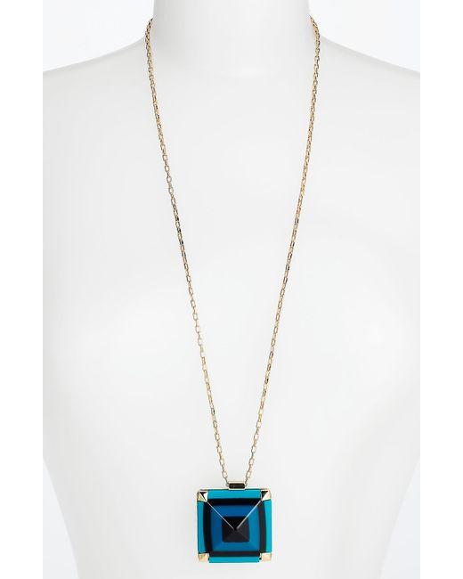 kate spade new york | Metallic New York Gold-tone Turquoise Mini Stone Pendant Necklace | Lyst