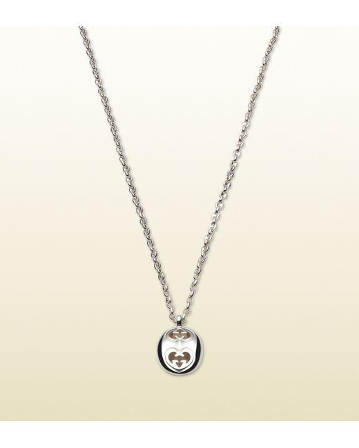 Gucci | Metallic Heart Shaped Interlocking G Pendant Necklace | Lyst