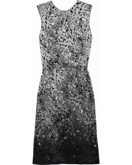 Lanvin   Gray Printed Silkblend Satin Dress   Lyst