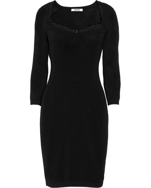 Boutique Moschino   Black Fine-knit Sweater Dress   Lyst