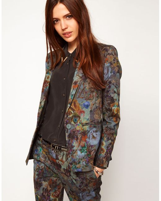 ASOS | Multicolor Satin Soft Jacket In Japanese Floral Print | Lyst
