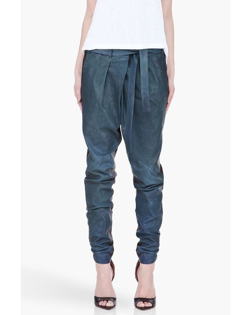 Helmut lang Pleated Leather Pants in Blue - Save 76% | Lyst