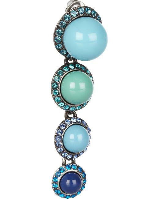 Lanvin | Blue Swarovski Crystal Clip Earrings | Lyst