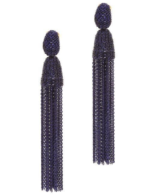 Oscar de la Renta | Marine Blue Long Bugle Bead Tassel Earrings | Lyst