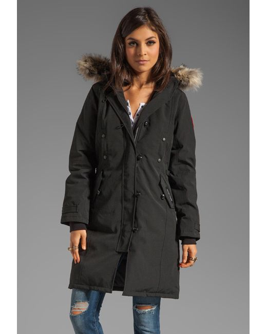 Canada Goose hats outlet shop - Canada goose Kensington Parka With Coyote Fur Trim in Black | Lyst