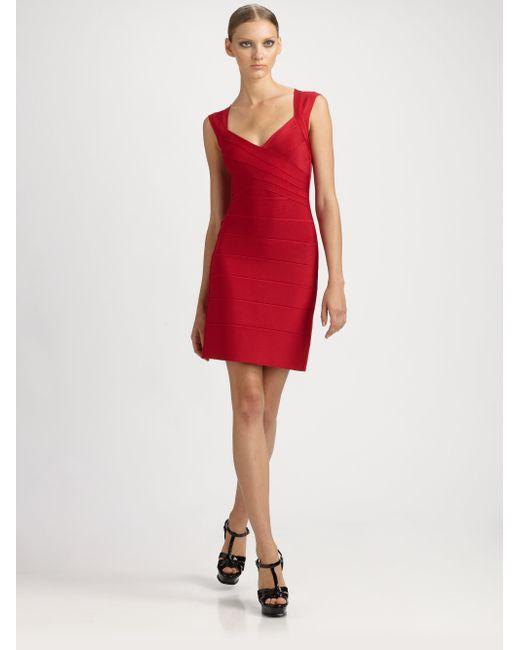 Hervé Léger | Red Cap-sleeve Bandage Dress | Lyst