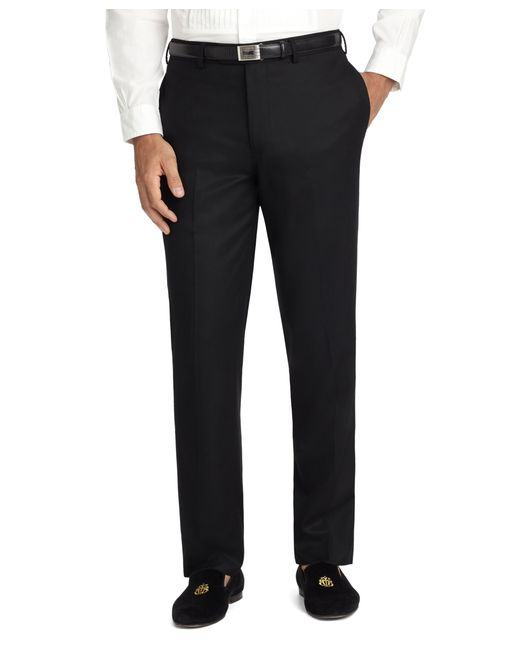 Brooks Brothers | Black Fitzgerald Fit Plain-front Flannel Dress Trousers for Men | Lyst