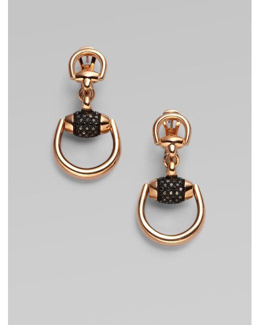 Gucci   Metallic Horsebit Black Diamond & 18k Rose Gold Drop Earrings   Lyst