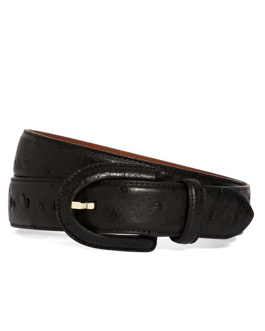 Brooks Brothers | Black Ostrich Covered Buckle Belt | Lyst