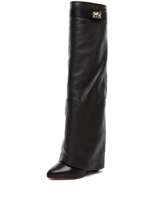 Givenchy | Shark Lock Fold Over Wedge Boot in Black | Lyst