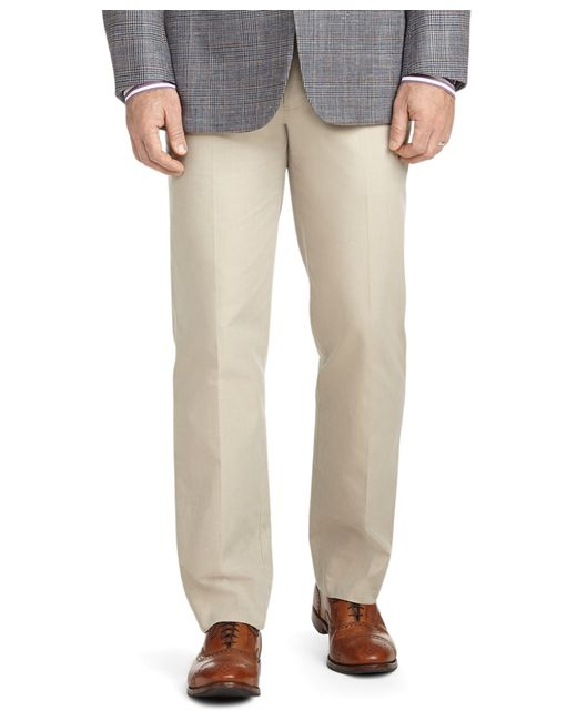 Brooks Brothers | Brown Fitzgerald Fit Plain-front Cotton Dress Chinos for Men | Lyst