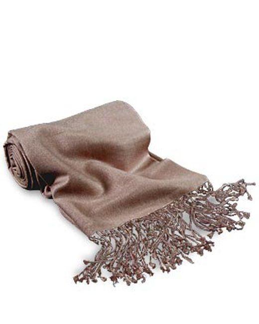 FORZIERI | Brown Taupe Pashmina & Silk Shawl | Lyst