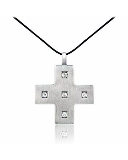 Zable | Gray Stainless Steel And Zircons Cross Pendant W/lace | Lyst