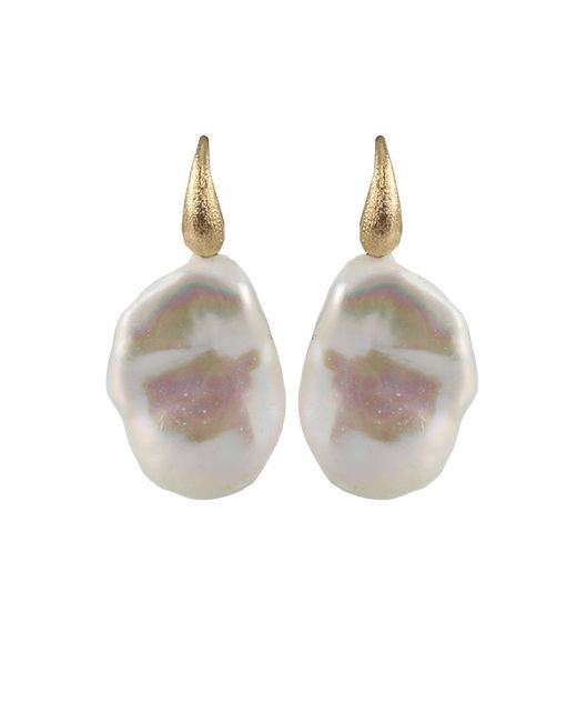 Yvel | Metallic White Baroque Fresh Water Pearl Earrings | Lyst