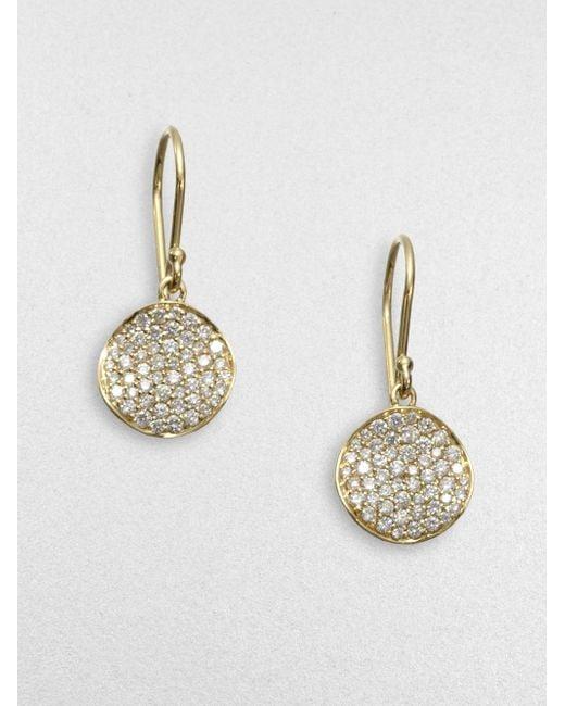 Ippolita   Metallic Stardust Diamond & 18k Yellow Gold Disc Earrings   Lyst