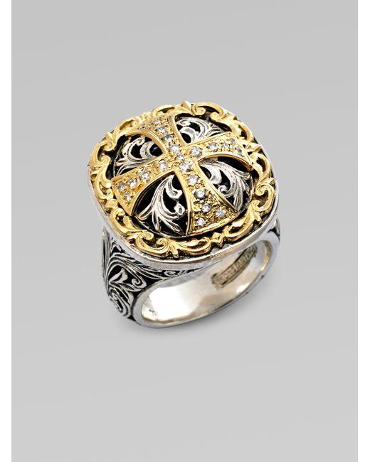 Konstantino | Metallic Sterling Silver And 18k Gold Diamond Maltese Cross Ring | Lyst