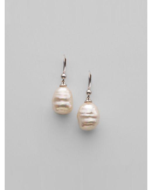 Majorica | 12mm White Baroque Pearl Drop Earrings | Lyst