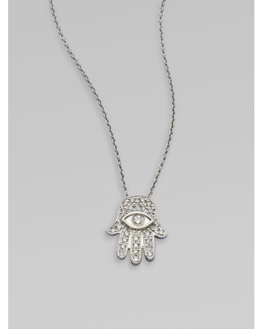 Roberto Coin   Tiny Treasures Diamond & 18k White Gold Hamsa Pendant Necklace   Lyst