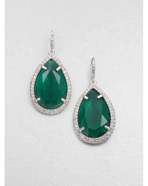 ABS By Allen Schwartz | Green Faceted Drop Earrings | Lyst