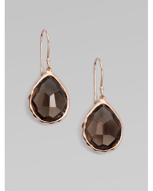 Ippolita | Pink Rose Rock Candy Smoky Quartz Teardrop Earrings | Lyst