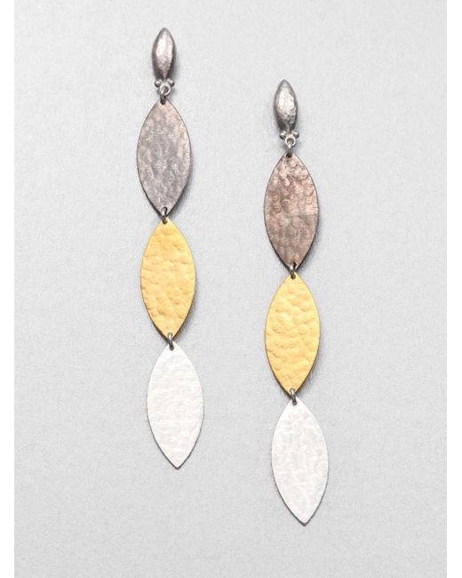 Gurhan | Metallic Willow 24k Yellow Gold & Sterling Silver Leaf Triple Drop Earrings | Lyst