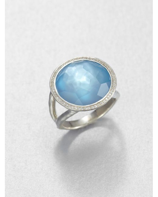Ippolita | Stella Swiss Blue Topaz, Mother-of-pearl, Diamond & Sterling Silver Medium Doublet Cocktail Ring | Lyst