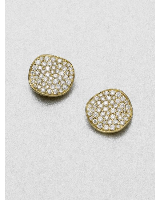 Ippolita | Metallic Stardust Diamond & 18k Yellow Gold Large Stud Earrings | Lyst
