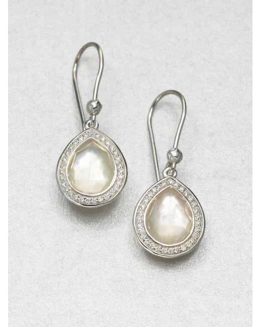 Ippolita | Metallic Stella Mother-of-pearl, Clear Quartz, Diamond & Sterling Silver Doublet Teardrop Earrings | Lyst