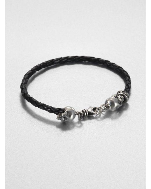 King Baby Studio | Black Braided Leather Hamlet Skull Bracelet for Men | Lyst