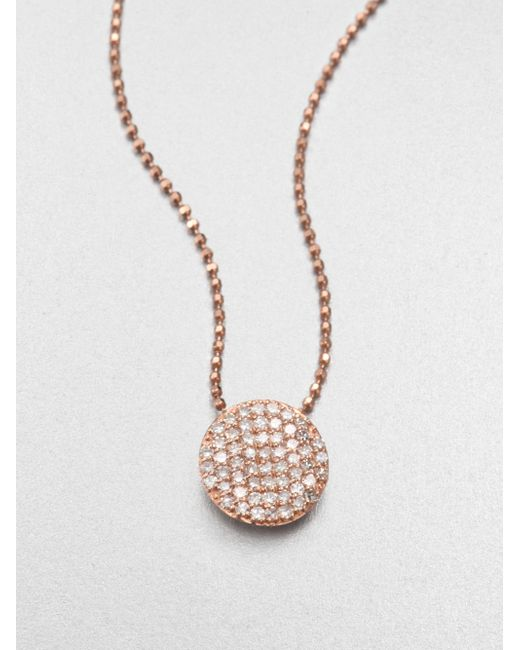 Phillips House | Pink 14k Rose Gold & Diamond Mini Infinity Pendant Necklace | Lyst