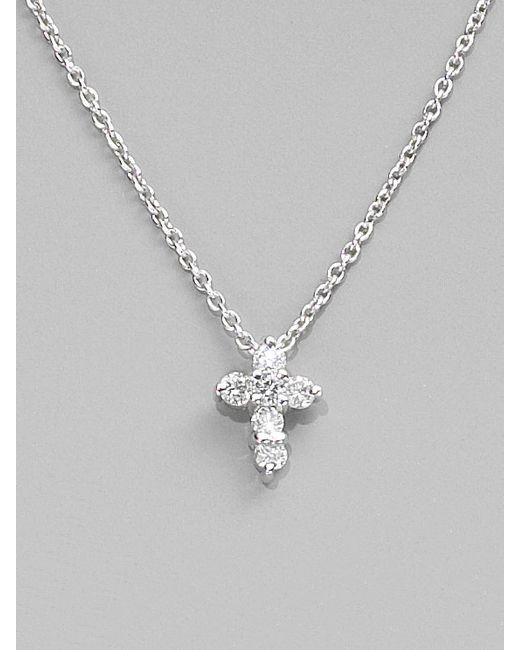 Roberto Coin | Tiny Treasures Diamond & 18k White Gold Baby Cross Necklace | Lyst
