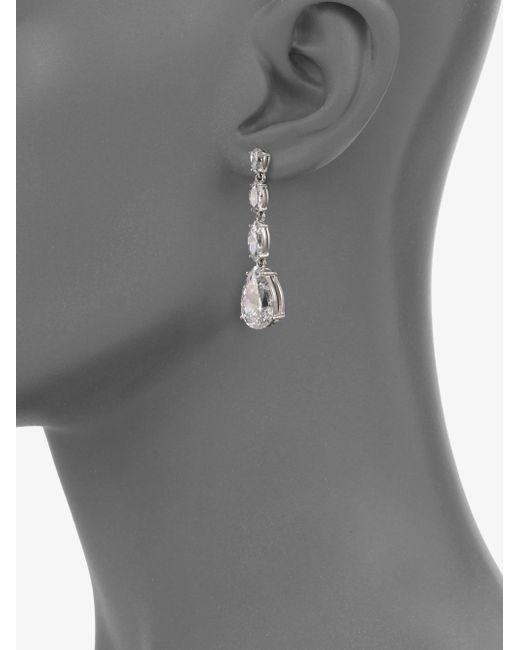 Adriana Orsini | Metallic Sterling Silver Pear Drop Linear Earrings | Lyst
