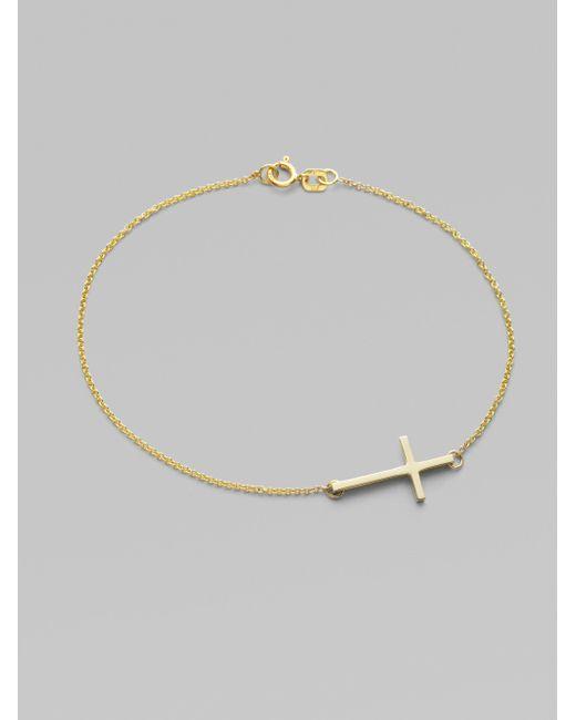 Mizuki | Metallic 14k Yellow Gold Side Cross Bracelet | Lyst