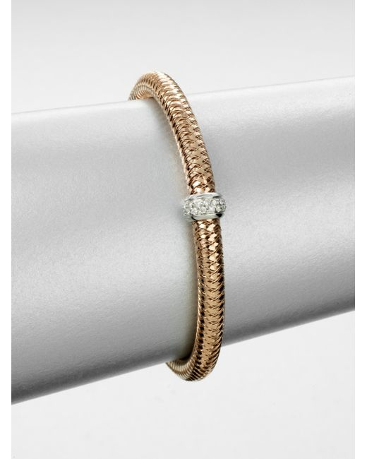 Roberto Coin | Pink Primavera Diamond & 18k Rose Gold Woven Bracelet | Lyst