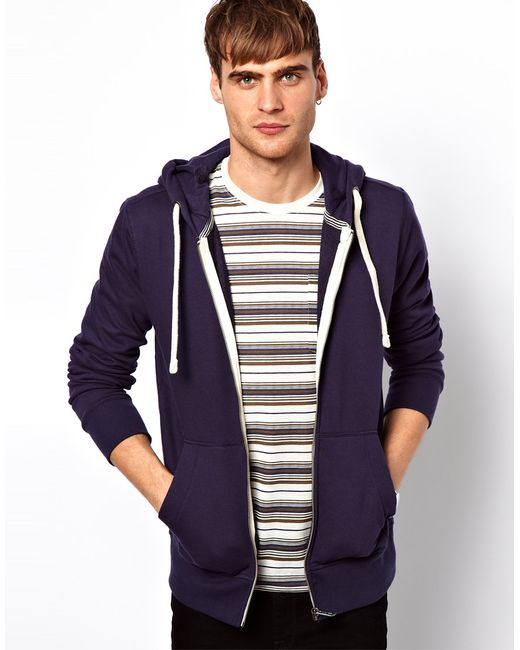 jack jones hoodie in purple for men navyblue save 41 lyst. Black Bedroom Furniture Sets. Home Design Ideas