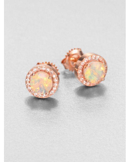 KALAN by Suzanne Kalan | Pink Opal & White Sapphire 14k Rose Gold Earrings | Lyst