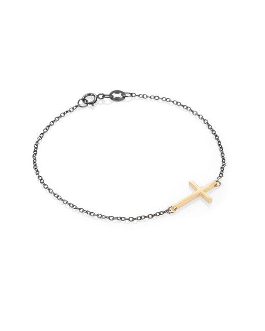 Mizuki | Metallic Sterling Silver & 14k Yellow Gold Cross Chain Bracelet | Lyst