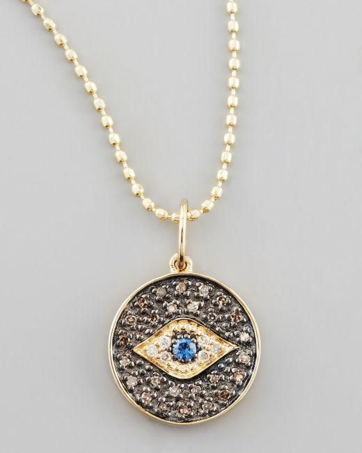 Sydney Evan | Metallic Small Diamond Evil Eye Medallion Necklace | Lyst