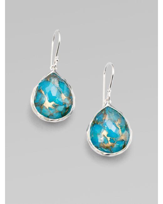 Ippolita   Metallic Wonderland Bronze Turquoise, Clear Quartz & Sterling Silver Mini Doublet Teardrop Earrings   Lyst